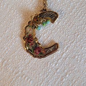 Michael Negrim C Initail Gold TonedFloral Necklace
